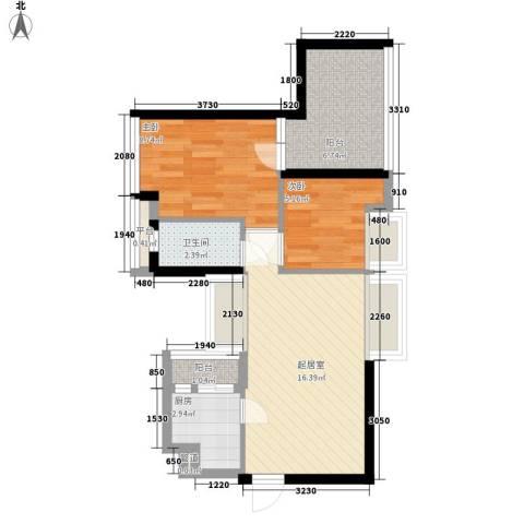 阳光城市家园2室0厅1卫1厨65.00㎡户型图