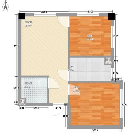 金州福佳新天地广场2室0厅1卫1厨61.00㎡户型图