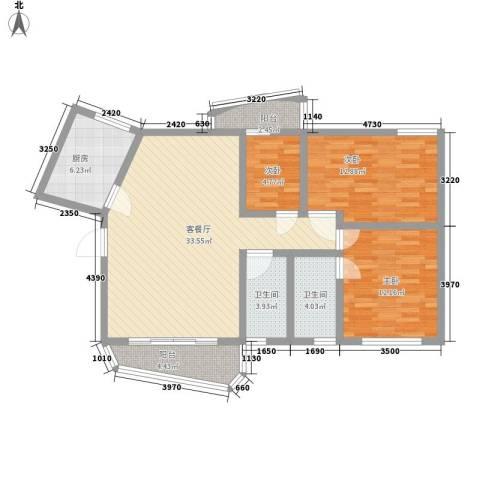 银泉花园3室1厅2卫1厨123.00㎡户型图