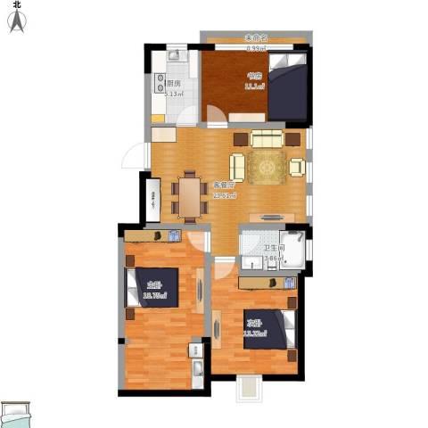 泰和铭庭3室1厅1卫1厨100.00㎡户型图