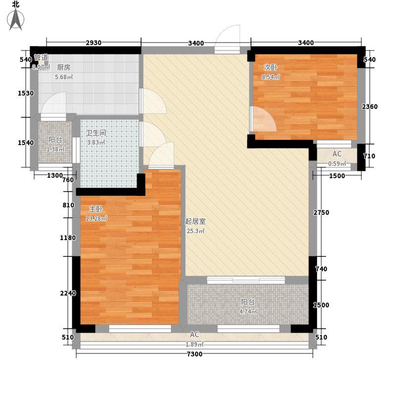 加州风情8.00㎡高层F-2户型3室2厅1卫