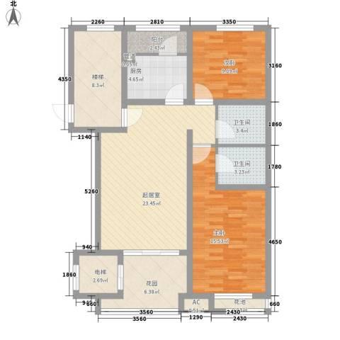 珠江国际城别墅2室0厅2卫1厨119.00㎡户型图