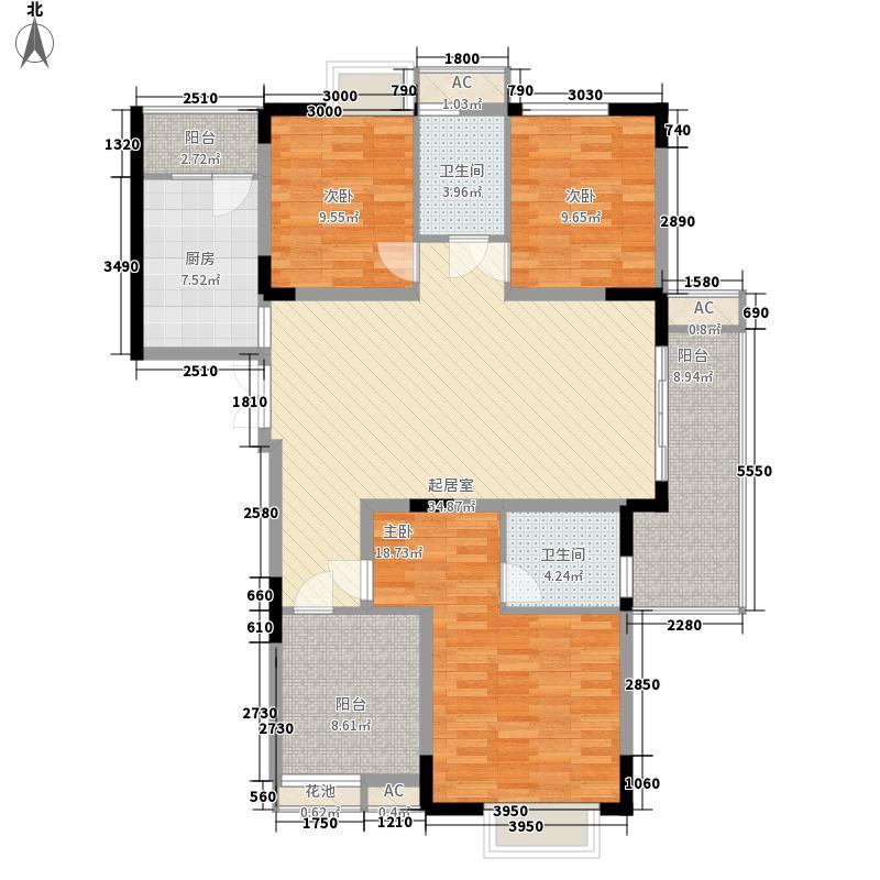 湘电友谊一号132.40㎡1期4#标准层F4户型3室2厅2卫