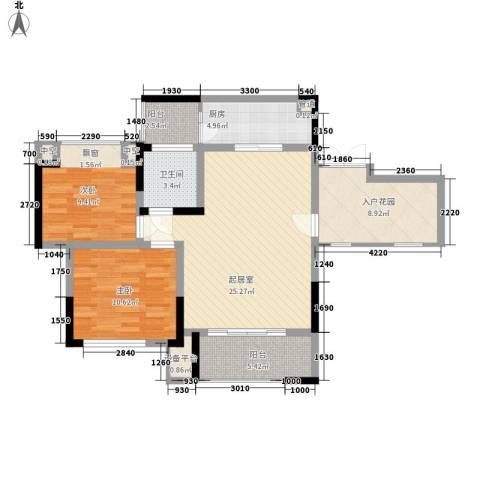 拓新香国城一期2室0厅1卫1厨84.00㎡户型图