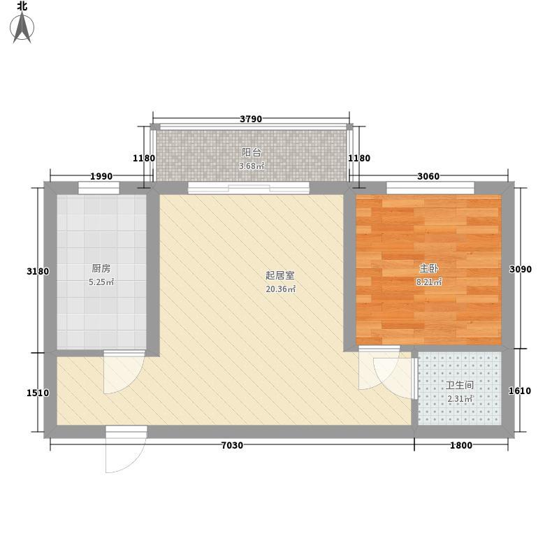 新西部城58.46㎡7户型1室1厅1卫1厨