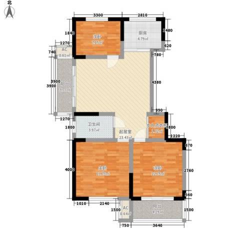 未来城3室0厅1卫1厨76.88㎡户型图