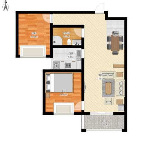 旭东花园2室1厅1卫1厨98.00㎡户型图