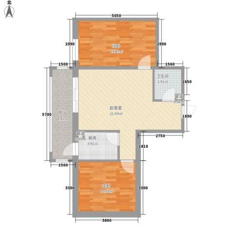 星河国阅公馆2室0厅1卫1厨59.96㎡户型图