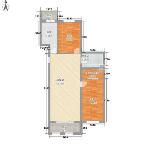 星河国阅公馆2室0厅1卫1厨87.11㎡户型图