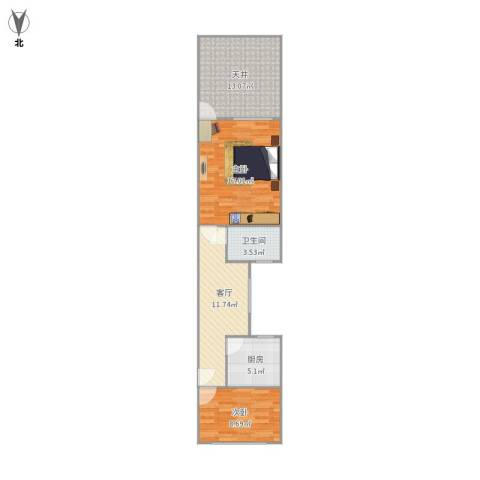 中山北路1321弄小区2室1厅1卫1厨79.00㎡户型图