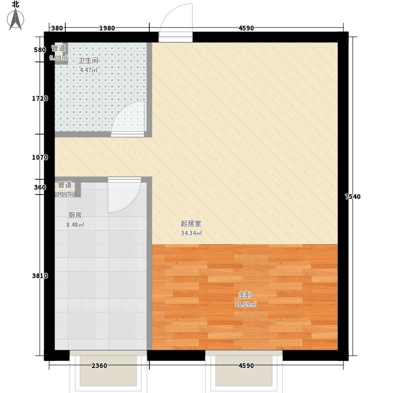 3克拉68.00㎡G户型1室2厅1卫1厨