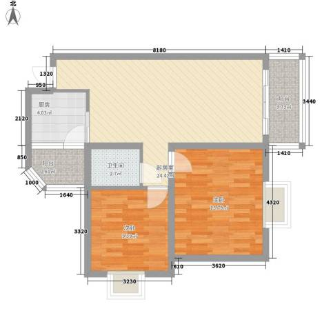 澜香溪谷2室0厅1卫1厨88.00㎡户型图