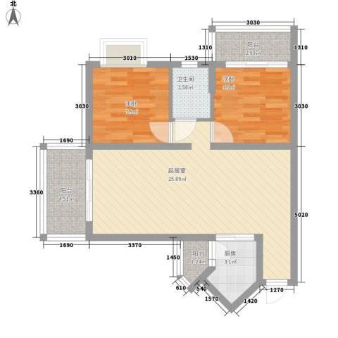 澜香溪谷2室0厅1卫1厨84.00㎡户型图