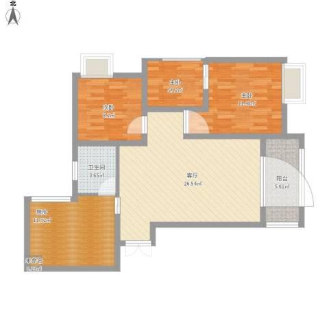 荧鸿城二期3室1厅1卫1厨104.00㎡户型图