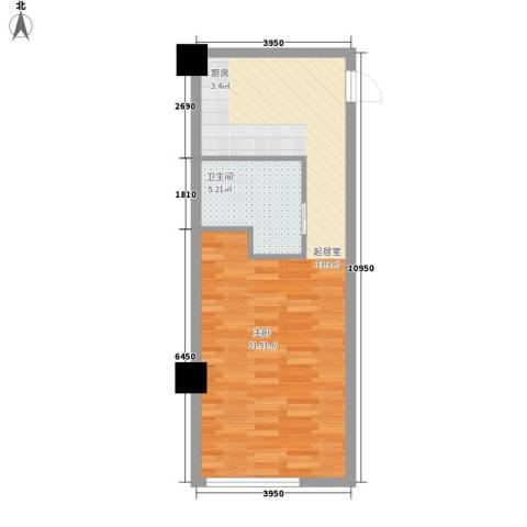 地汇华商国际公寓1卫0厨54.00㎡户型图