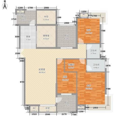 金域中央天越3室0厅2卫0厨198.00㎡户型图
