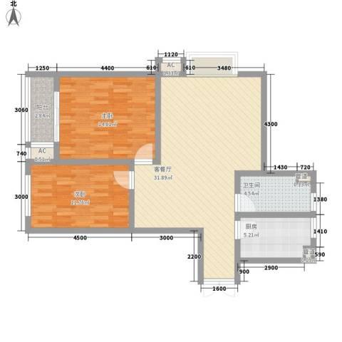 港城蓝天2室1厅1卫1厨83.57㎡户型图