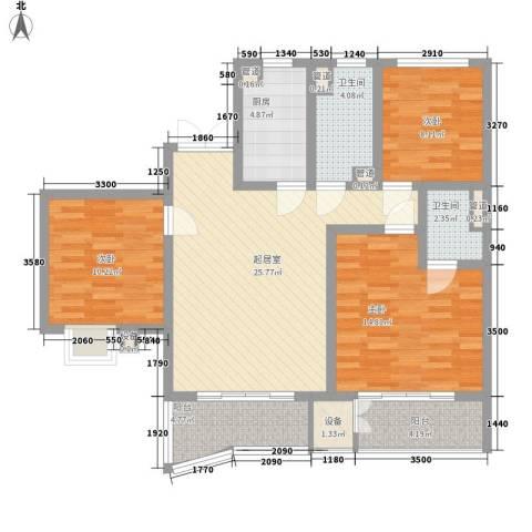港城蓝天3室0厅2卫1厨95.74㎡户型图