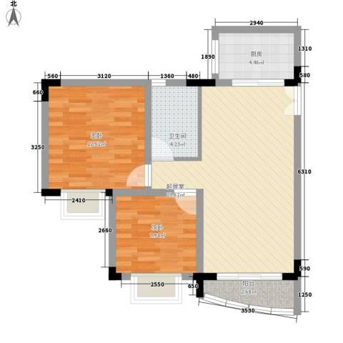 金明楼2室0厅1卫1厨80.00㎡户型图