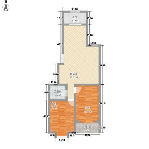 西岸2室0厅1卫1厨92.00㎡户型图