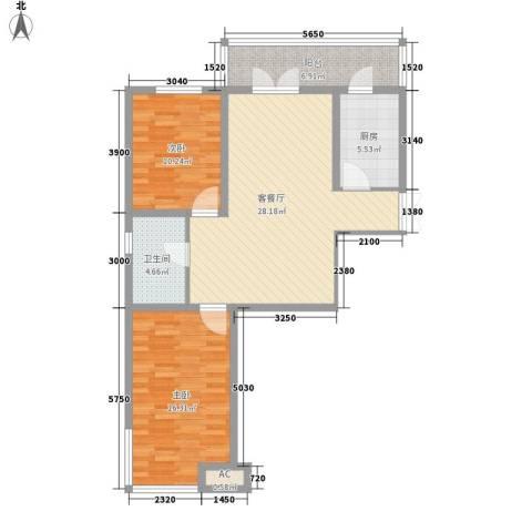 金京赛丽斯2室1厅1卫1厨72.41㎡户型图