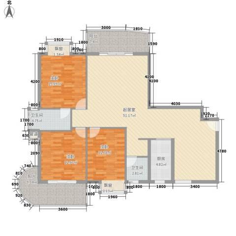 新城海世界3室0厅2卫1厨137.00㎡户型图