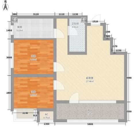 保利香槟国际2室0厅1卫1厨86.00㎡户型图