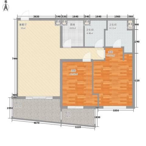 瑞苑公寓2室1厅2卫1厨131.00㎡户型图