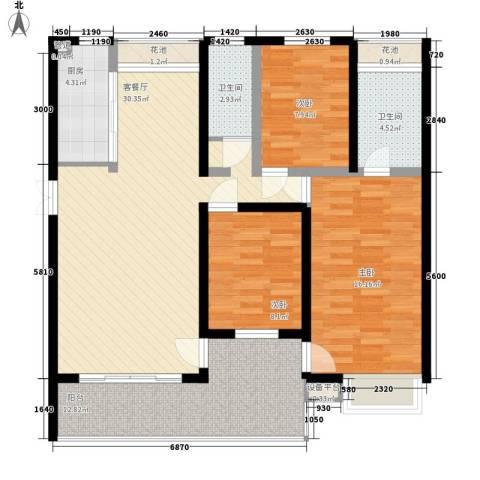金榜华庭3室1厅2卫1厨130.00㎡户型图