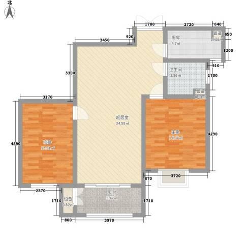 港城蓝天2室0厅1卫1厨88.90㎡户型图
