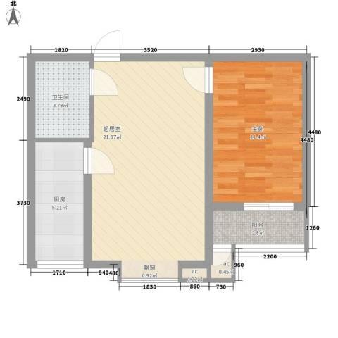 中建御邸世家1室0厅1卫1厨69.00㎡户型图
