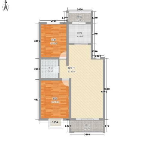 泰华林庄园2室1厅1卫1厨94.00㎡户型图