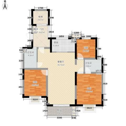 地安汉城国际3室1厅2卫1厨132.00㎡户型图