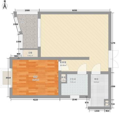 港城蓝天1室0厅1卫1厨60.55㎡户型图