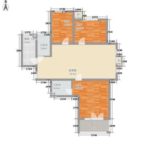 中建御邸世家3室0厅2卫1厨129.00㎡户型图