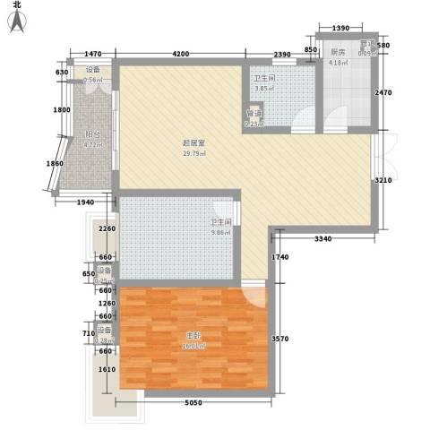 港城蓝天1室0厅2卫1厨81.34㎡户型图