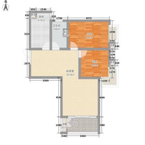 港城蓝天2室0厅1卫1厨75.30㎡户型图