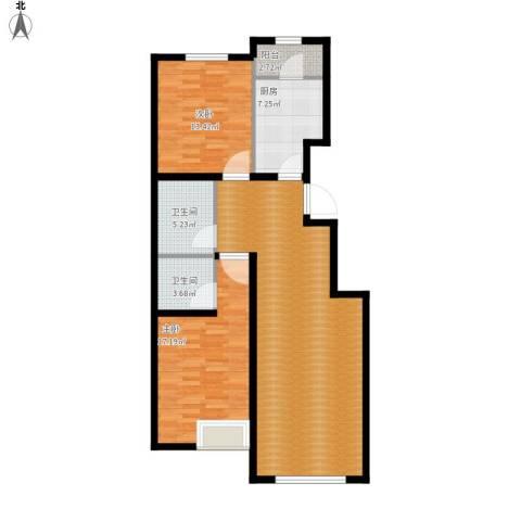中加·博悦2室1厅2卫1厨122.00㎡户型图