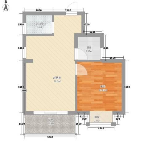 新城海世界1室0厅1卫1厨54.00㎡户型图