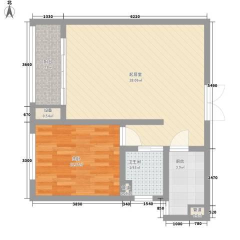 港城蓝天1室0厅1卫1厨59.17㎡户型图