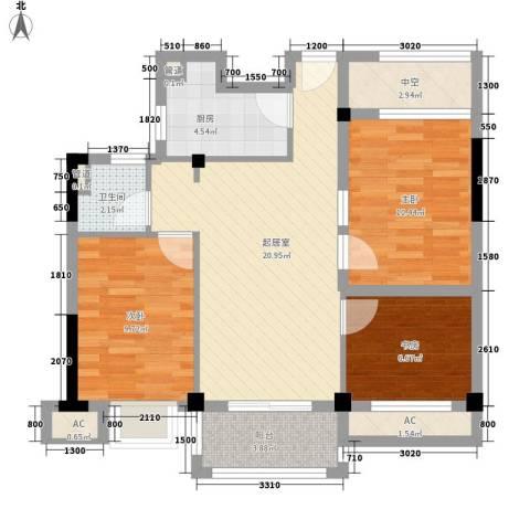 开元九龙湖畔春漫里3室0厅1卫1厨74.00㎡户型图