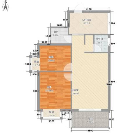 新城海世界2室0厅1卫1厨76.00㎡户型图
