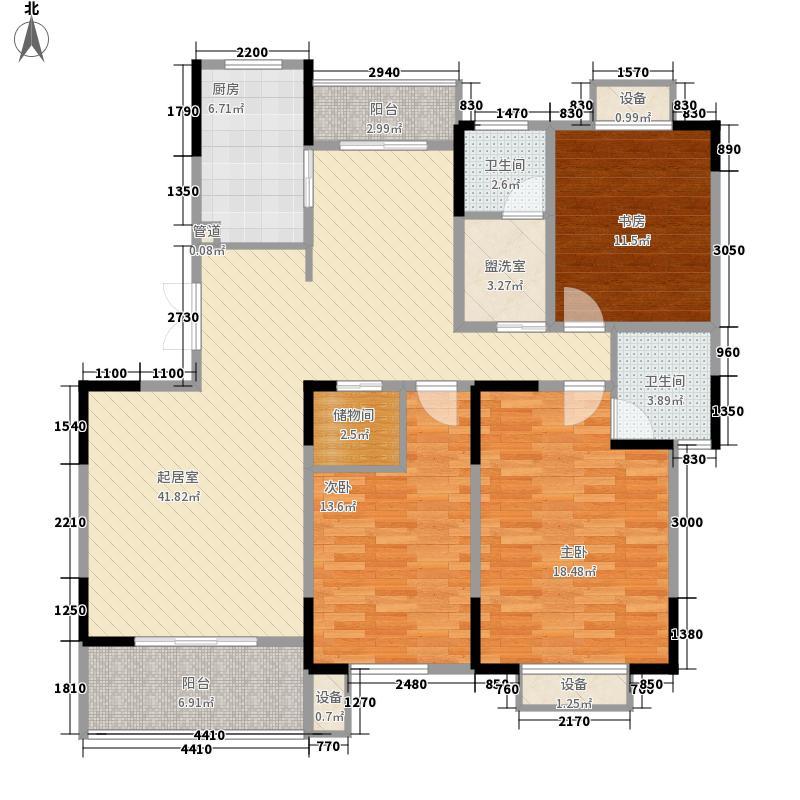 中大青山湖花园142.40㎡B2-B户型3室2厅2卫1厨