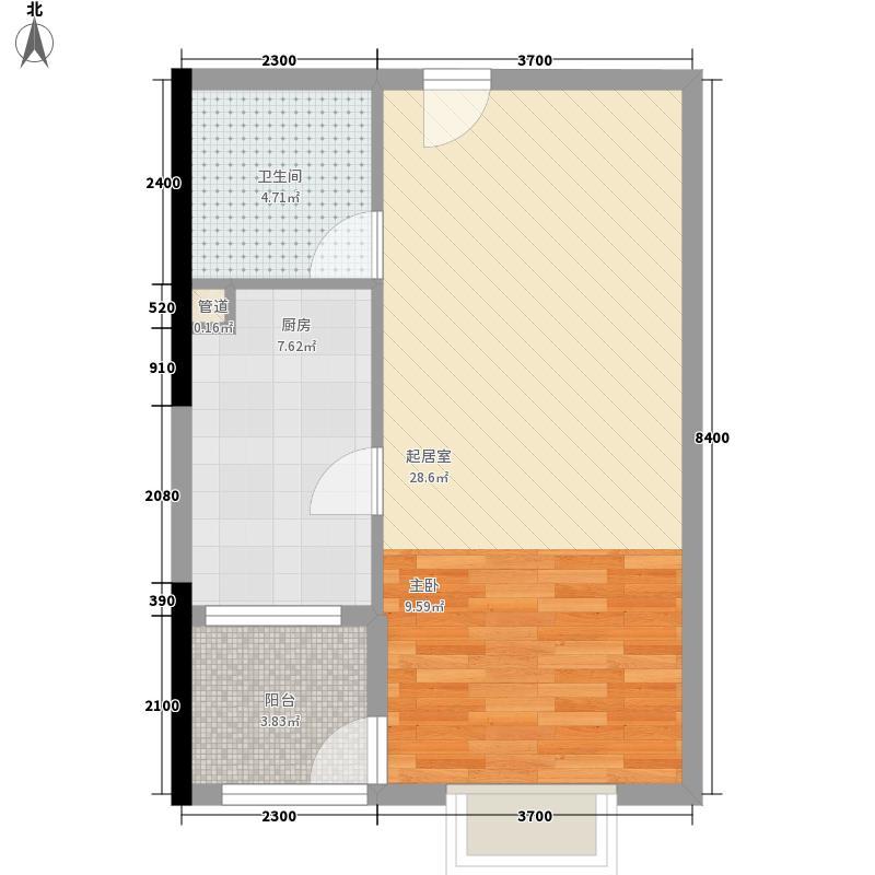 曼哈顿商业广场67.77㎡3#标准间C2型户型1室1厅1卫1厨