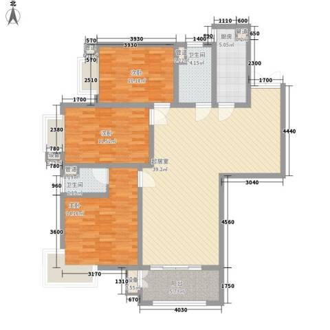 港城蓝天3室0厅2卫1厨108.20㎡户型图