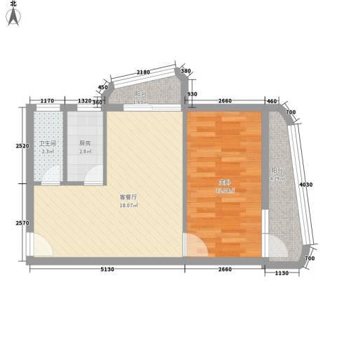 银泉花园1室1厅1卫1厨60.00㎡户型图