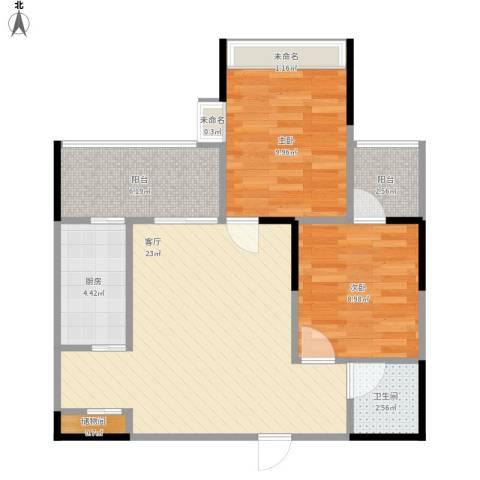万州汇景苑2室1厅1卫1厨84.00㎡户型图
