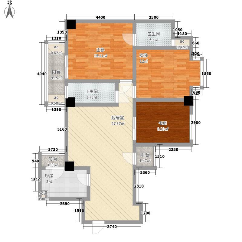 钻石年代111.90㎡A型户型3室2厅2卫1厨
