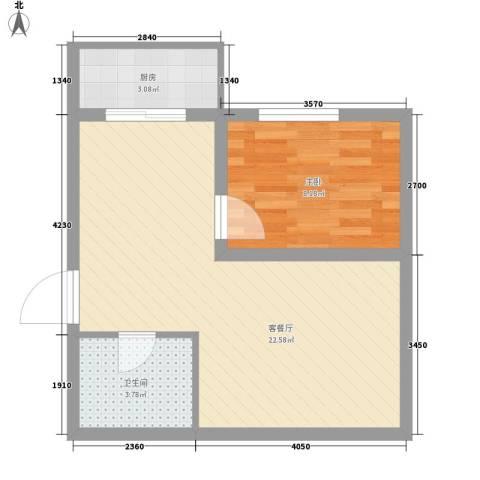 云华园1室1厅1卫1厨54.00㎡户型图