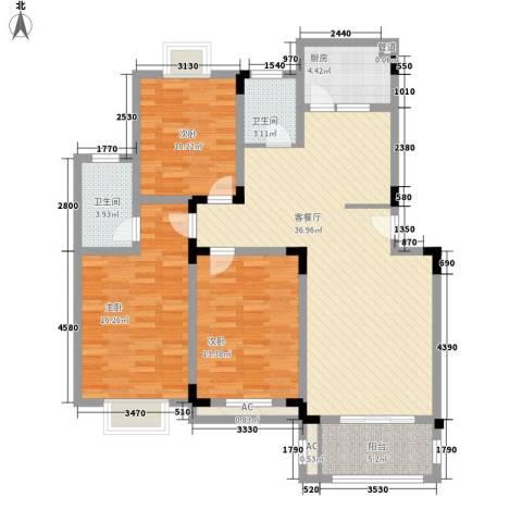 天地人科文苑3室1厅2卫1厨110.00㎡户型图